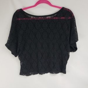 Maurices Tops - Maurice's Black Woven Lace Back Crop Top